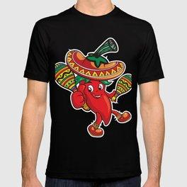 Cinco De Mayo Dancing Red Pepper Sombrero Maracas T-shirt