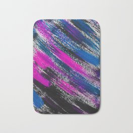 Stormy Night Abstract Brush Strokes Painting Bath Mat