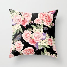 Pink Roses, White Jasmine, Monarch Butterflies, Pomegranate Heart Shapes on Black Throw Pillow