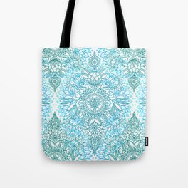 Turquoise Blue, Teal & White Protea Doodle Pattern Tote Bag