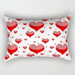 Hearts Red and White Rectangular Pillow