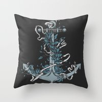 anchor Throw Pillows featuring Anchor by BEADLER Design and Illustration