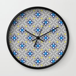 Origami Paper Flowers on Grey Background Wall Clock