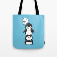 penguins Tote Bags featuring Penguins by Freeminds