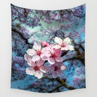 cherry blossoms Wall Tapestries featuring Cherry Blossoms by Nadine May