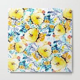 Yellow painted flowers Metal Print