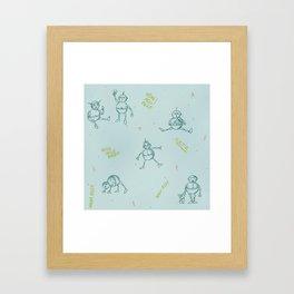 Robot Babies Captioned Framed Art Print