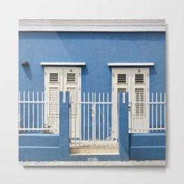 Blue Caribbean house Metal Print