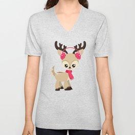 Cute Reindeer, Reindeer With Pink Ear Warmers Unisex V-Neck