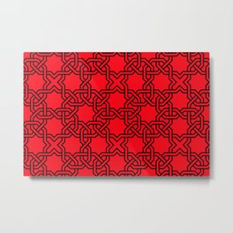 Entwined graphic Lines Home Design - red Metal Print