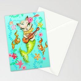 Mermaid Cat with Ukulele Stationery Cards