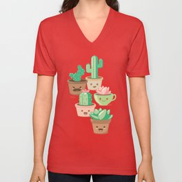Kawaii Succulents Unisex V-Neck