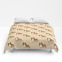 Sable Shetland Sheepdog Dog Cartoon Illustration Comforters