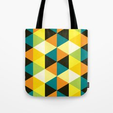 Teal, mustard, black & yellow triangles Tote Bag