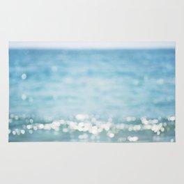 Beach Ocean Photography Art, Blue Coastal Photo, Aqua Seascape Photograph, Waves Art Rug