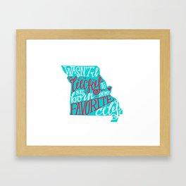 Meet Me In St. Louis - Teal & Red. Framed Art Print