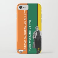 steve mcqueen iPhone & iPod Cases featuring Bullitt, Steve McQueen, Ford Mustang GT 1968. Vintage Print Poster Decoration by Vintage Deco Print Posters