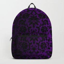 Purple and Black Damask Pattern Design Backpack