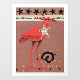 Birds Wearing Clothes - Sheriff's Badge Art Print