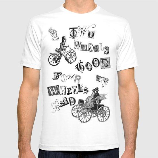 two-wheels-good-four-wheels-bad-tshirts.