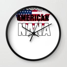 Proud American Nana American Flag Grandmother Grandma Wall Clock