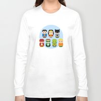justice league Long Sleeve T-shirts featuring Pixel Art - Justice League of America parody by Cloudsfactory