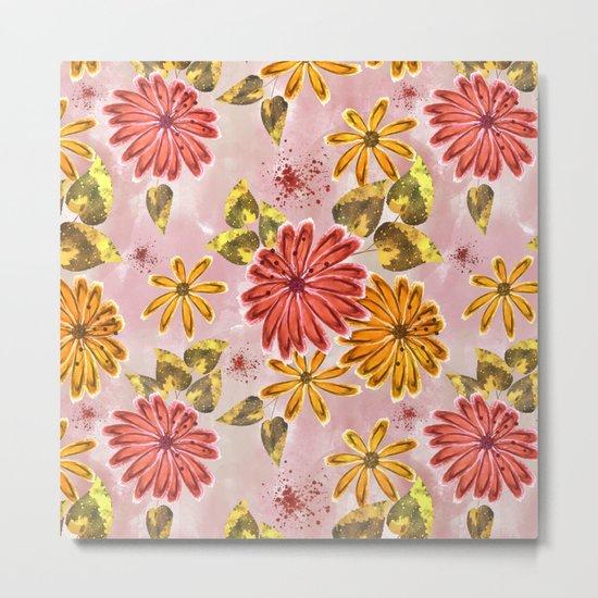 Pink, orange flowers. Metal Print