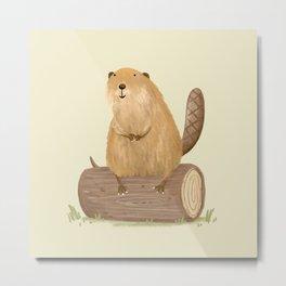 Beaver on a Log Metal Print