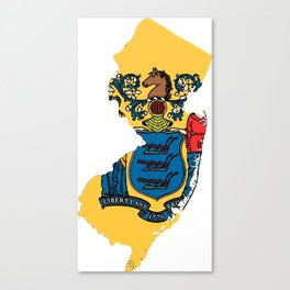 New Jersy Map with State Flag Canvas Print
