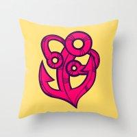 anchor Throw Pillows featuring Anchor by Artistic Dyslexia
