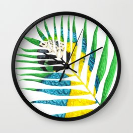 Parrot Palm Leaf Wall Clock