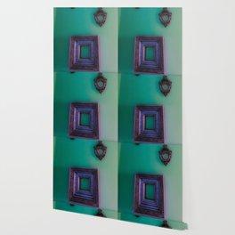 Wall of Faceless Decor- Mint/Purple Wallpaper
