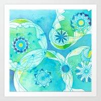 Spirograph: Aquatic Summer Art Print