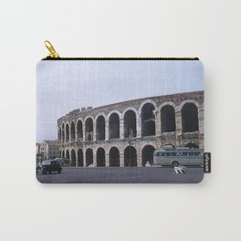 Vintage Color Photo * Verona Arena * Italy * 1950's * Antique Cars * Bus *Italian Carry-All Pouch