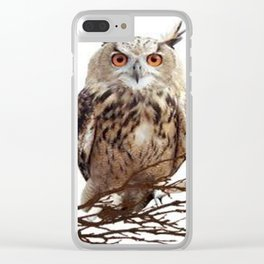 WILDERNESS BROWN OWL IN WHITE Clear iPhone Case