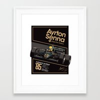 senna Framed Art Prints featuring Ayrton Senna x JPS by Sean Kane Design