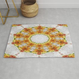 Gold Chrysanthemum Kaleidoscope Art 4 Rug