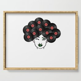 Vinyl Records Afro Hair Black Woman Serving Tray