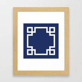 Navy Blue Greek Key Framed Art Print