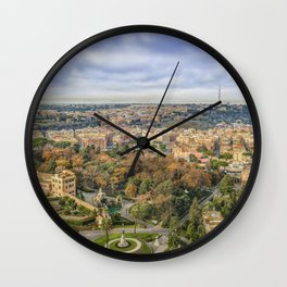 Vatican Gardens Aerial View, Rome, Italy Wall Clock