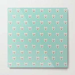 Cream Frenchie White French Bulldog Print Pattern on Mint Green Background Metal Print