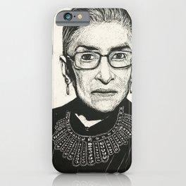 Ruth Bader Ginsberg Scratchboard Portrait iPhone Case