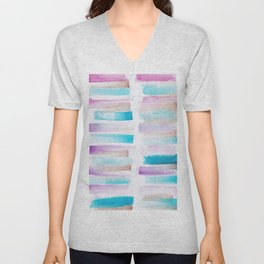 4| 181101 Watercolour Palette Abstract Art | Lines | Stripes | Unisex V-Neck