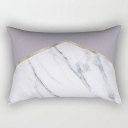 Smokey lilac - gold geometric marble Rectangular Pillow