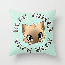 Meow Chicka Meow Meow Cat Tattoo Flash-style Throw Pillow