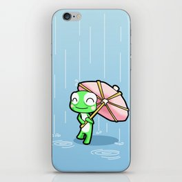 Frog with a pink party umbrella iPhone Skin