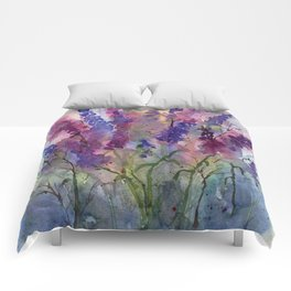 Delphinium Blues, from my original watercolor Comforters