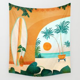 Seaside Surf Retreat / Tropical Landscape Wall Tapestry