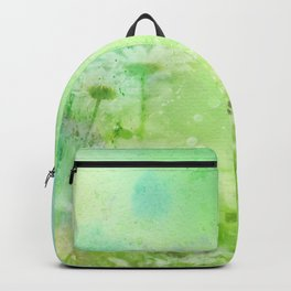 Green Watercolor Floral Backpack