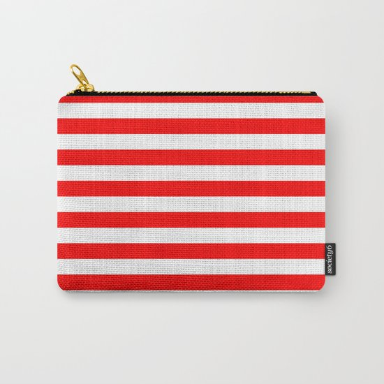Horizontal Stripes (Red/White) Carry-All Pouch